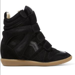 Bekett leather-trimmed suede wedge sneakers